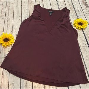 White House Black Market burgundy silk top